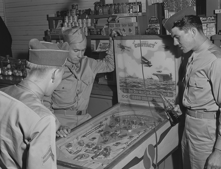 Soldiers from Fort Benning in a country store near Phenix City, Alabama,                   May 1941